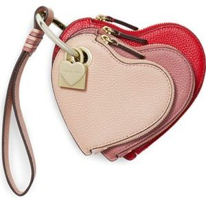 NWT-Michael Kors-Heart-Leather Wristlet Trio-$168